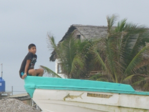 Fishing Boat and Boy, Canoa, Ecuador
