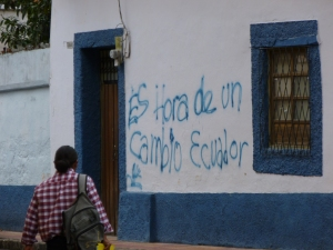 """It's the hour for a change Ecuador!"" Graffiti: Cotacachi, Ecuador"