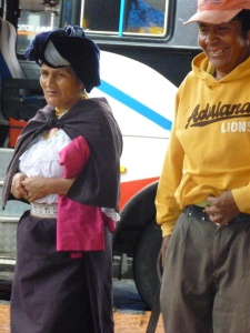 Woman Waiting For Her Bus: Cotacachi, Ecuador