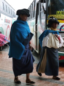 Woman Running For Their Bus: Cotacachi, Ecuador