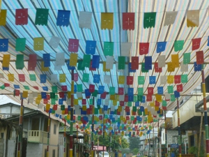 Paper Street Decorations, Olon, Ecuador