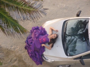 Car Hood Window on a Fashion Shoot: Crucita, Ecuador