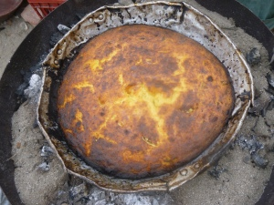Torta de Choclo in the outdoor oven