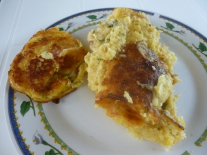 Torta de Choclo and the same batter fried as a pancake. Both are delicious!